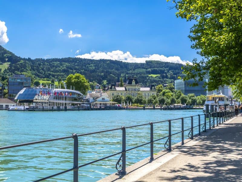 Il lago di Costanza, vista della passeggiata di Bodensee in Bregenz, Austria immagine stock libera da diritti