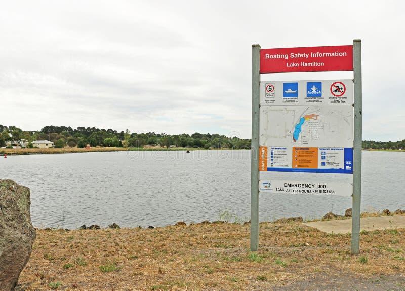 Il lago Hamilton (1977) è un'area di 38 ettari usata in sia imbarcazione autoalimentata che non a forza immagine stock libera da diritti