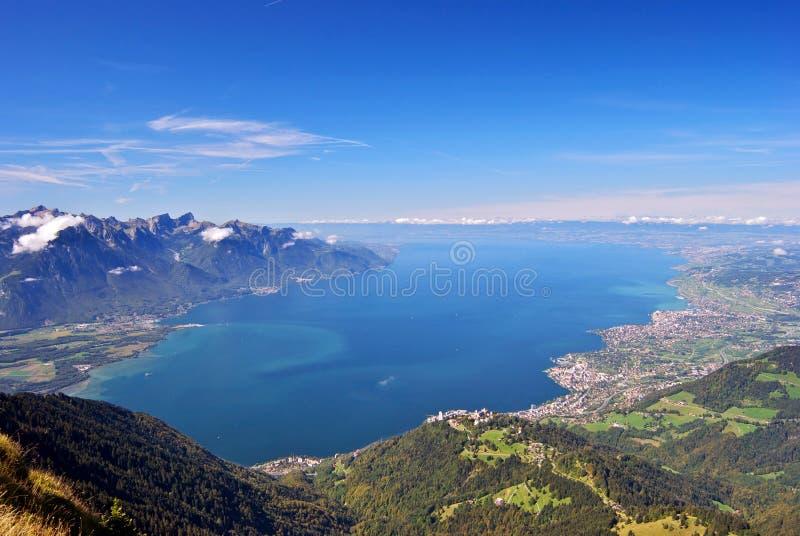 Il lago Lemano, Svizzera immagini stock