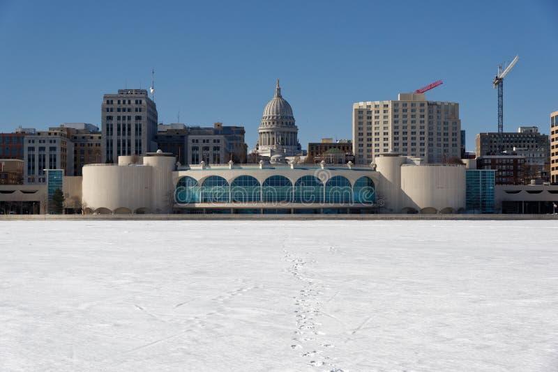 Il lago Monona coperto di neve fotografia stock libera da diritti