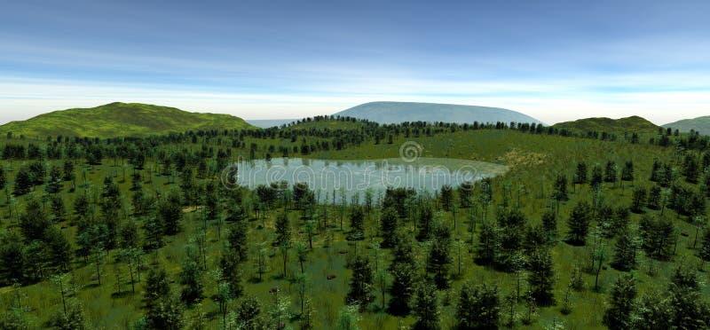 Il lago sacro all'altezza della collina di estate royalty illustrazione gratis