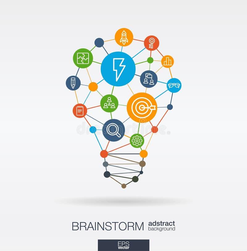 Il lampo di genio ha integrato la linea sottile icone nella forma della lampadina di idea Concetto interattivo della rete neurale illustrazione di stock