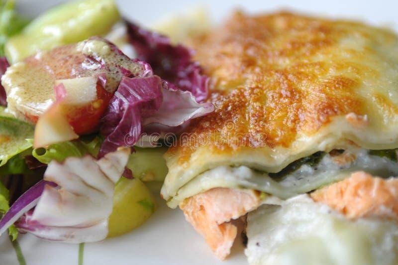 Il lasagne con i salmoni fotografie stock