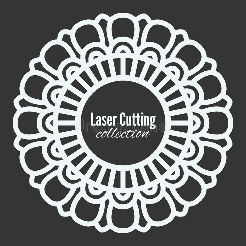 Il laser di vettore ha tagliato la struttura del modello Mandala floreale per il tracciatore Modelli la decorazione domestica, la illustrazione vettoriale