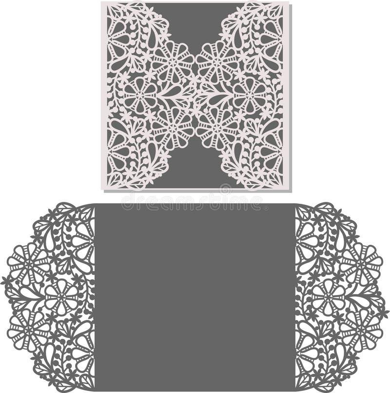 Il laser ha tagliato il modello della busta per la partecipazione di nozze dell'invito illustrazione vettoriale