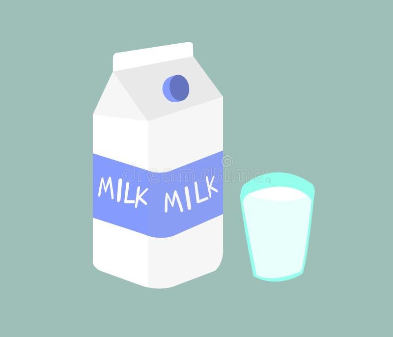 Il latte è il prodotto delle mucche là è molti benefici Immagine di latte e di bicchiere di latte su fondo verde illustrazione vettoriale