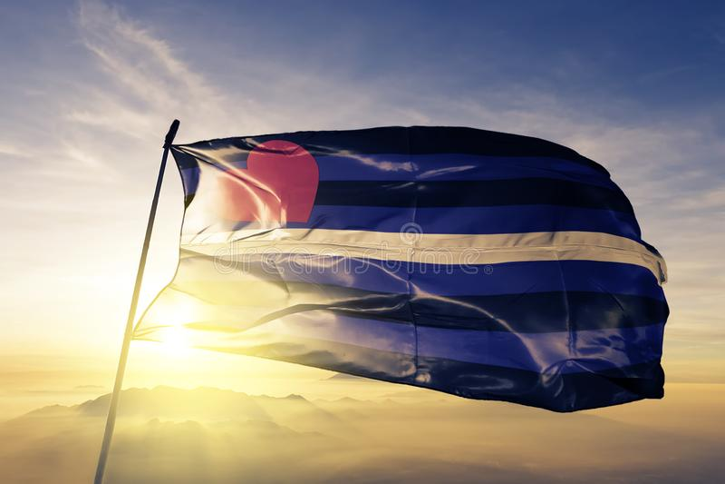 Il lattice di cuoio ed il tessuto del panno del tessuto della bandiera di orgoglio di cuoio di orgoglio di BDSM che ondeggia sull illustrazione di stock