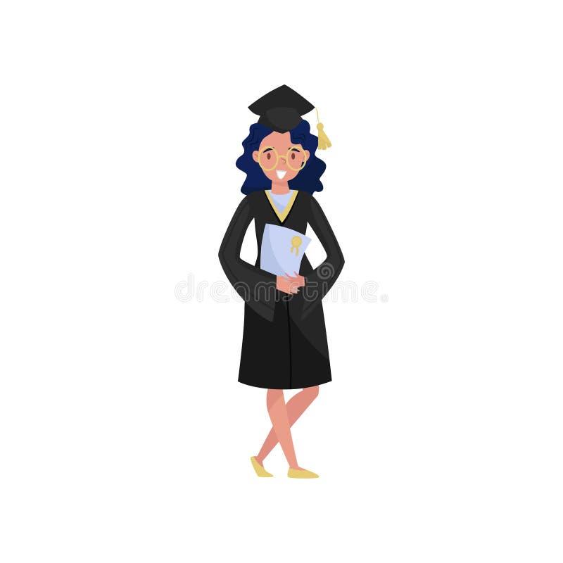 Il laureato felice della femmina, la ragazza sorridente dello studente di graduazione in abito ed il diploma della tenuta del cap illustrazione di stock