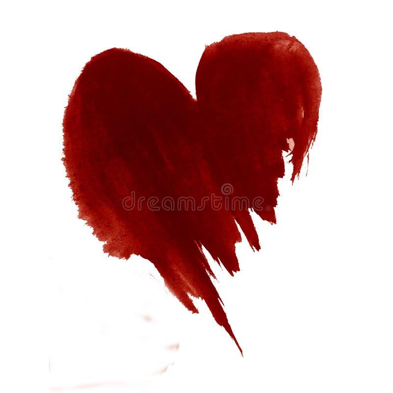 Il lavaggio bagnato astratto del giorno di biglietti di S. Valentino di amore del cuore del modello del fondo dell'acquerello ha  immagine stock