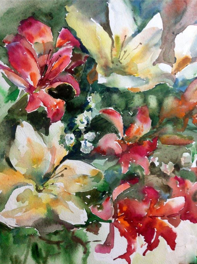 Il lavaggio bagnato dei gigli floreali strutturati freschi dei fiori del fondo di arte dell'acquerello ha offuscato la fantasia d royalty illustrazione gratis
