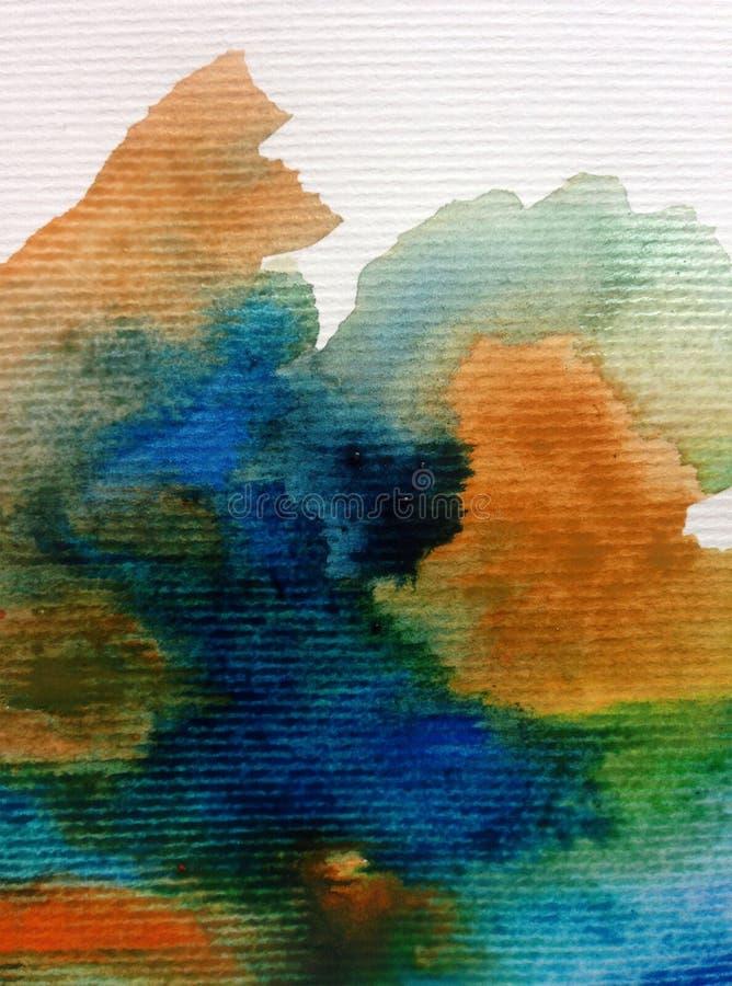Il lavaggio bagnato strutturato vibrante delle nuvole del cielo della tempesta dell'estratto del fondo di arte dell'acquerello ha illustrazione vettoriale