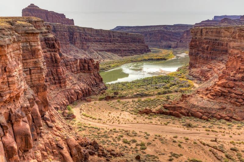 Il lavaggio a secco del canyon di Shafer incontra il Colorado immagine stock