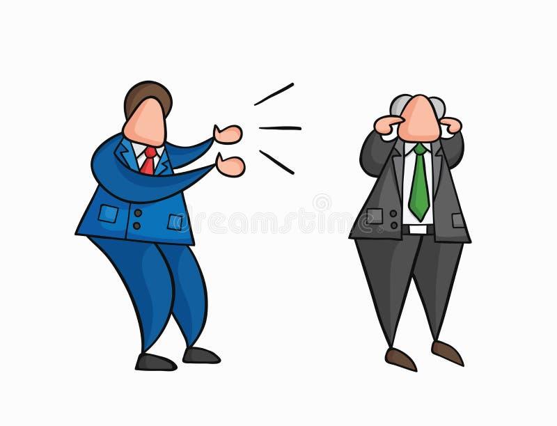 Il lavoratore arrabbiato dell'uomo d'affari di vettore disegnato a mano che urla al capo ed al capo sta chiudendo le sue orecchie illustrazione di stock