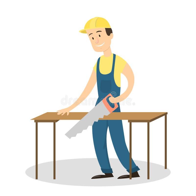 Il lavoratore con ha visto illustrazione di stock