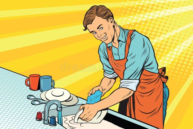 Il lavoratore d'annata lava i piatti illustrazione vettoriale
