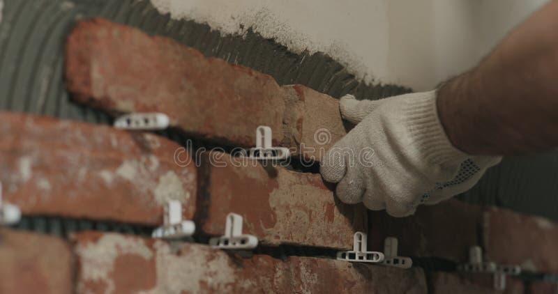Il lavoratore del primo piano che applica il mattone taglia le mattonelle alla parete fotografia stock