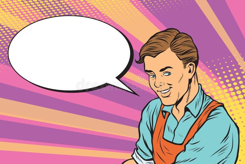 Il lavoratore in grembiule dice, la bolla del libro di fumetti royalty illustrazione gratis