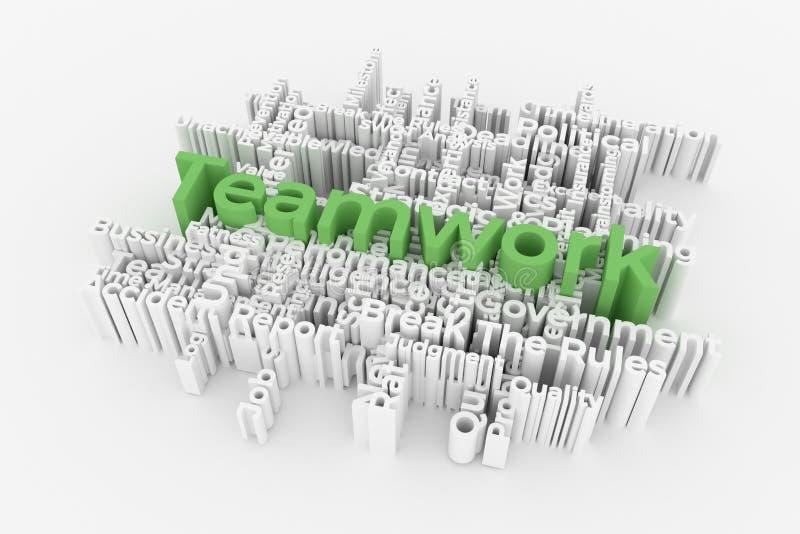 Il lavoro di squadra, parole di parola chiave di affari si appanna Per la pagina Web, la progettazione grafica, la struttura o il royalty illustrazione gratis