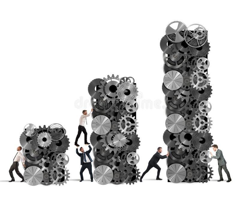 Il lavoro di squadra sviluppa il profitto corporativo royalty illustrazione gratis