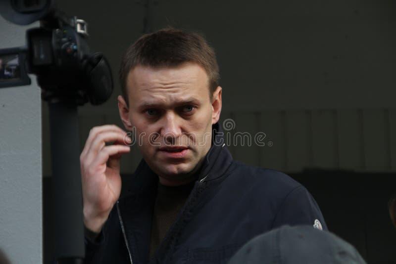 Il leader dell'opposizione Alexei Navalny è arrivato in Chimki immagini stock libere da diritti