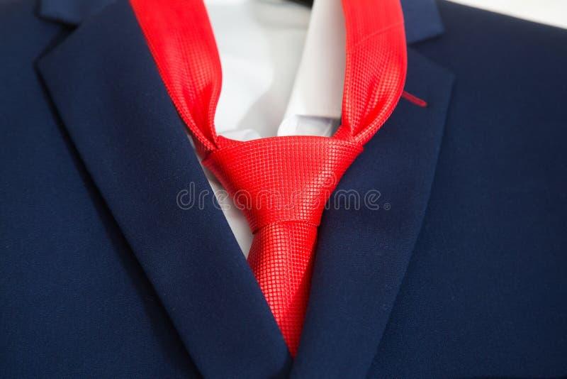 Il legame rosso bello dello sposo con il vestito blu fotografie stock libere da diritti