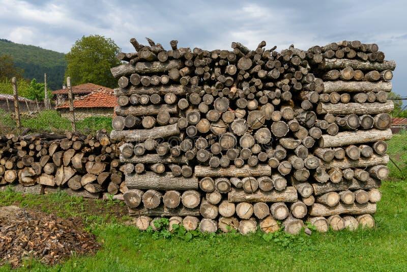 Il legname ha tagliato per fuoco o l'incendio nell'inverno fotografia stock libera da diritti