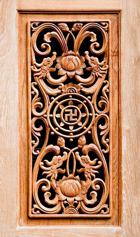 Il legno di scultura del cinese del reticolo immagini stock