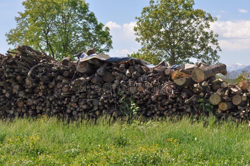 il legno registra il mucchio immagini stock