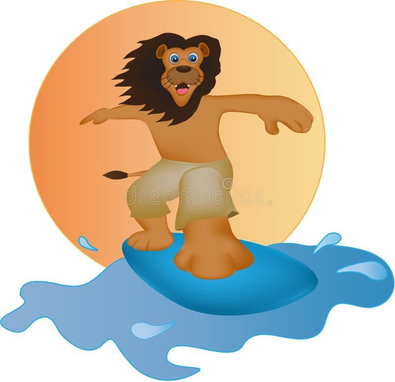 Il leone del fumetto stava praticando il surfing immagini stock