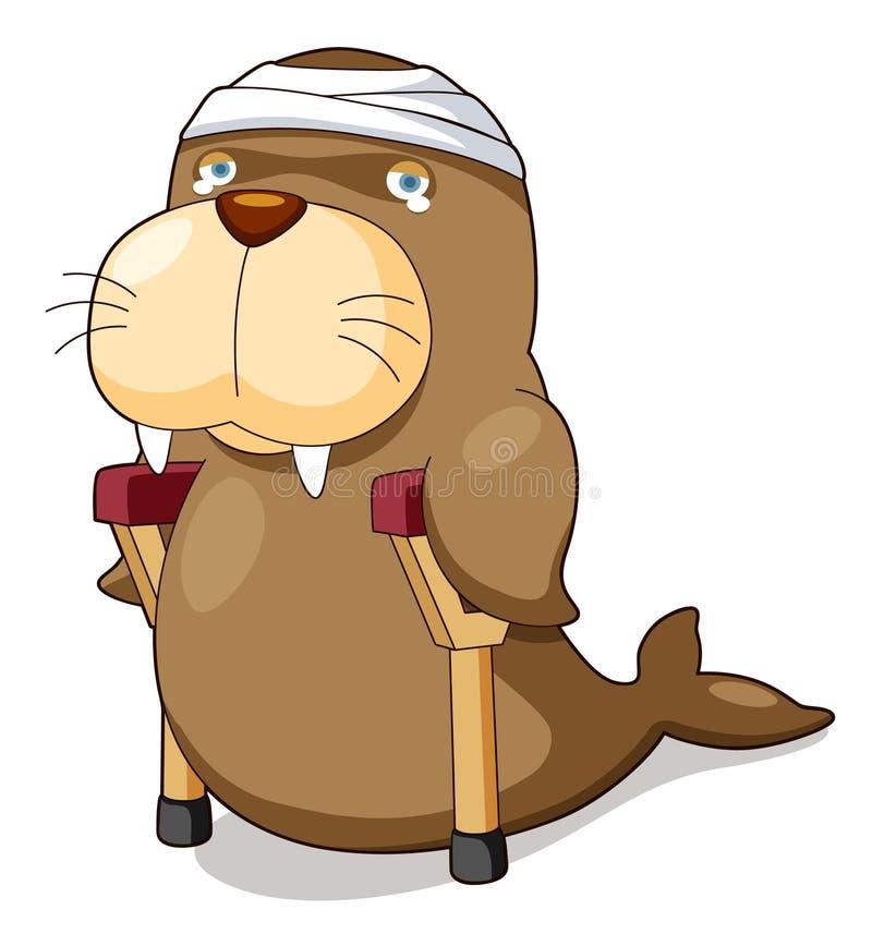 Il leone di mare del fumetto be è ferito illustrazione vettoriale