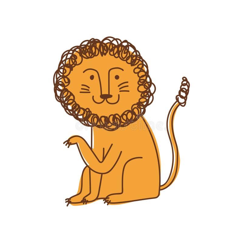 Il leone sveglio, elemento disegnato a mano di progettazione può essere usato per la stampa della maglietta, il manifesto, la car illustrazione di stock