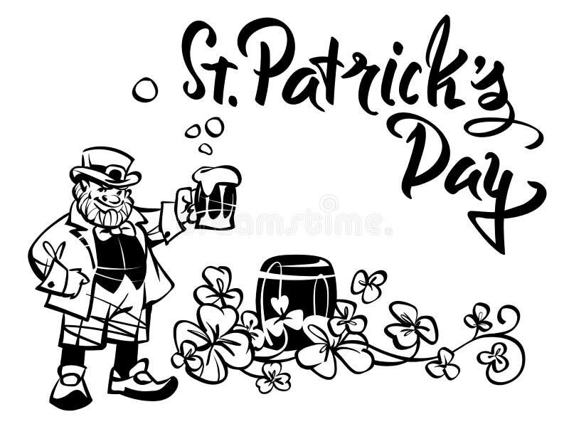Il leprechaun con una tazza, celebra il giorno del ` s di St Patrick illustrazione di stock