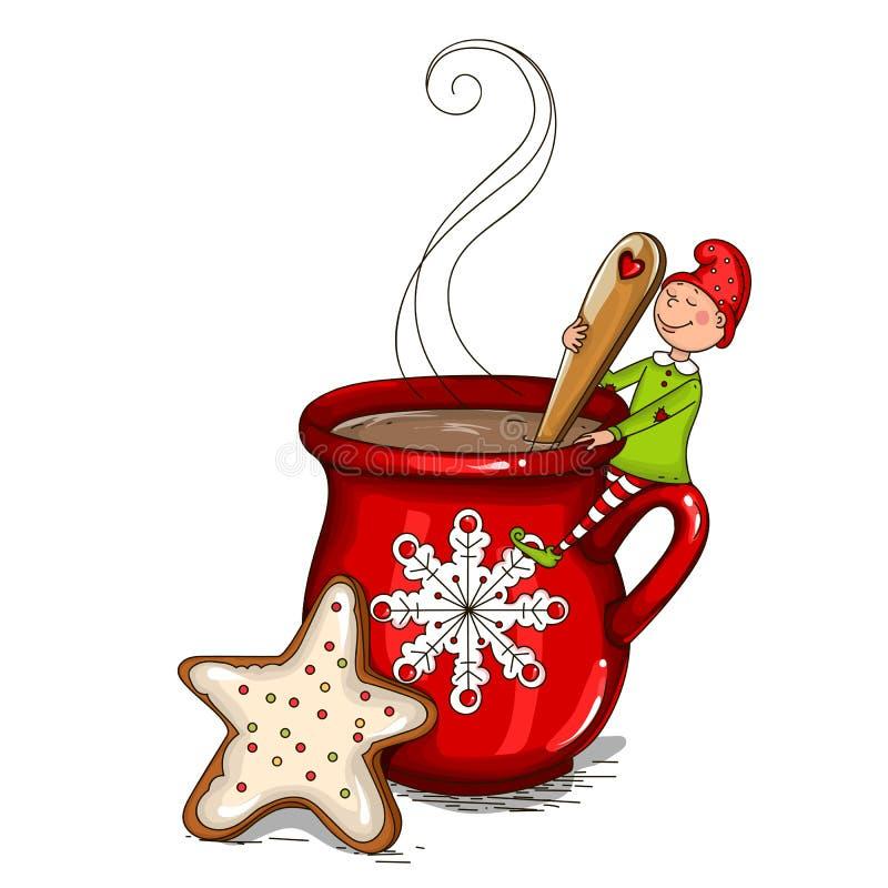 Il leprechaun si siede su una tazza di cacao illustrazione di stock