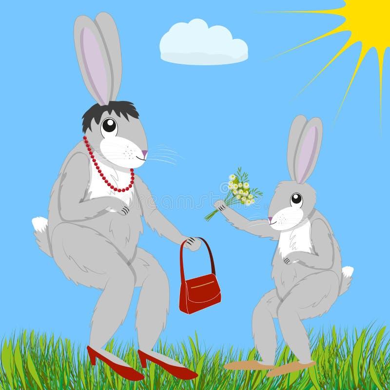 Il leprotto dà i fiori alla mamma royalty illustrazione gratis
