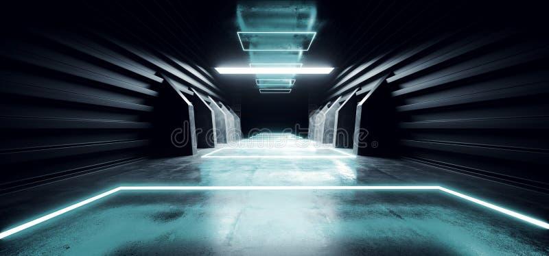Il lerciume concreto moderno futuristico d'ardore blu al neon dell'autorimessa sotterranea del magazzino del tunnel del corridoio royalty illustrazione gratis