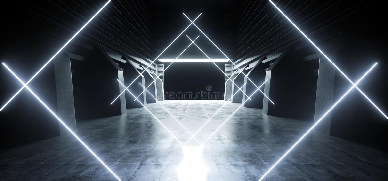 Il lerciume concreto moderno futuristico d'ardore blu al neon dell'autorimessa sotterranea del magazzino del tunnel del corridoio illustrazione vettoriale