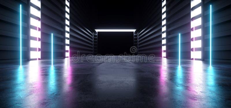Il lerciume concreto moderno futuristico d'ardore blu dell'autorimessa sotterranea del magazzino del tunnel del corridoio di corr royalty illustrazione gratis
