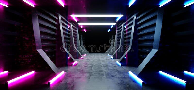 Il lerciume concreto moderno futuristico d'ardore blu dell'autorimessa sotterranea del magazzino del tunnel del corridoio di corr illustrazione vettoriale
