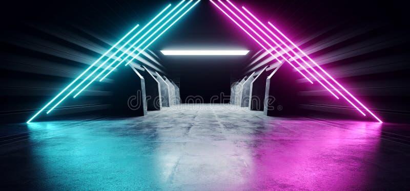 Il lerciume concreto moderno futuristico d'ardore blu dell'autorimessa sotterranea del magazzino del tunnel del corridoio di corr illustrazione di stock
