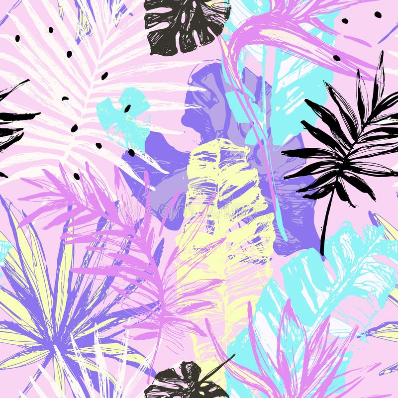 Il lerciume disegnato a mano ha strutturato il modello senza cuciture delle foglie tropicali illustrazione di stock