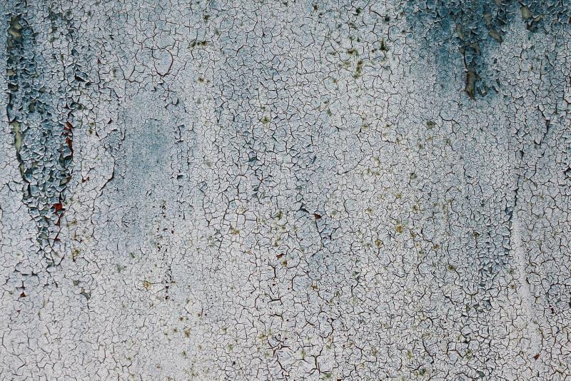 Il lerciume ha arrugginito struttura del metallo, fondo ossidato blu-grigio del metallo Vecchio pannello del ferro del metallo su fotografia stock