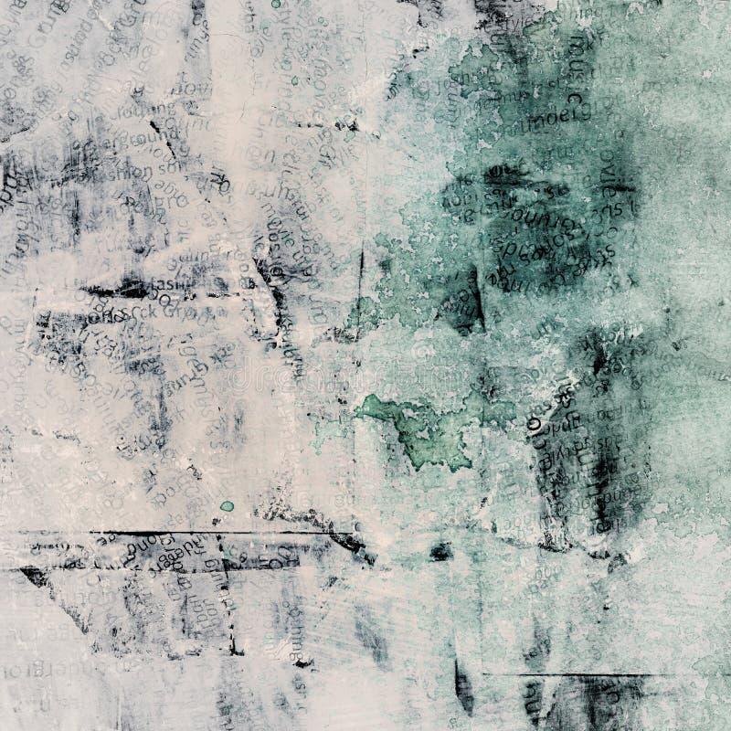 Il lerciume ha dipinto il collage di carta lacerato con differenti parole, fondo graffiato incrinato royalty illustrazione gratis