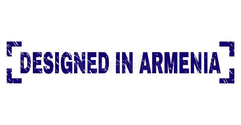 Il lerciume ha strutturato PROGETTATO IN guarnizione del bollo dell'ARMENIA dentro gli angoli illustrazione di stock