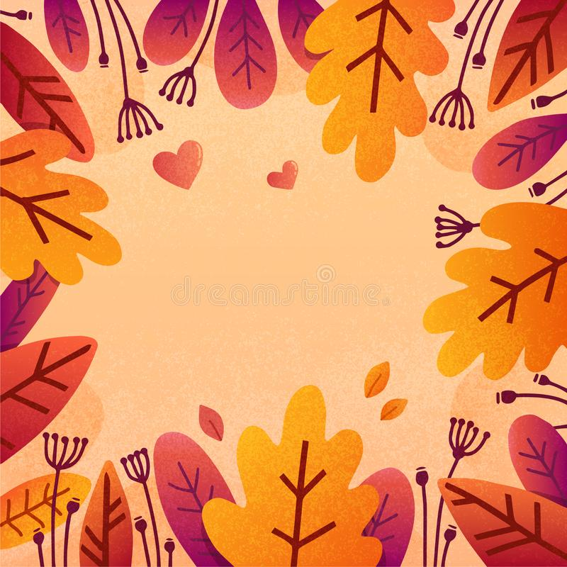 Il lerciume piano di stile di autunno variopinto arancio ed il rosso lascia il fondo di vettore della struttura illustrazione vettoriale