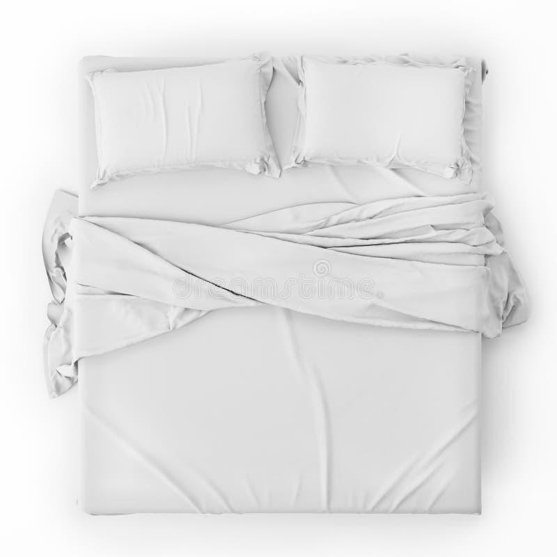 Il letto bianco nello spazio vuoto isolato su bianco, rende immagine stock libera da diritti