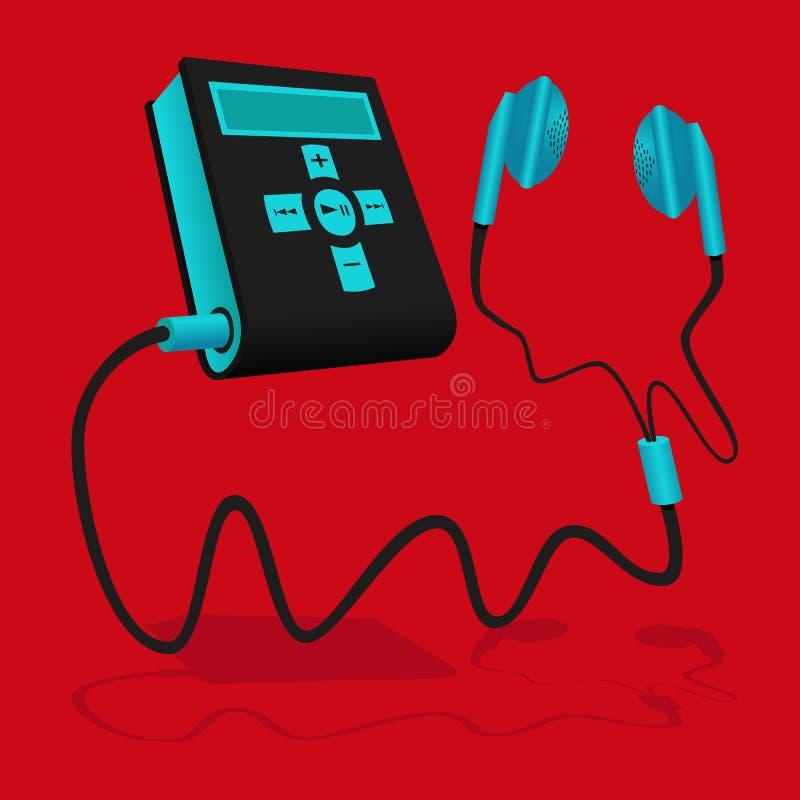 Il lettore MP3 nero e blu è collegato al trasduttore auricolare royalty illustrazione gratis