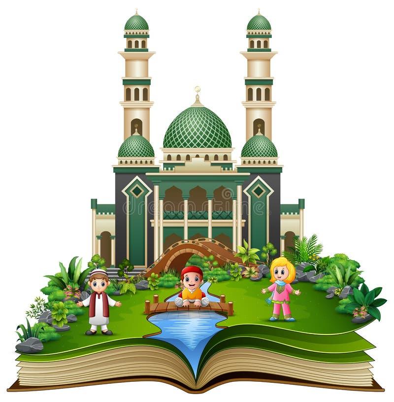 Il libro aperto con i musulmani felici scherza il fumetto che gioca davanti ad una moschea royalty illustrazione gratis