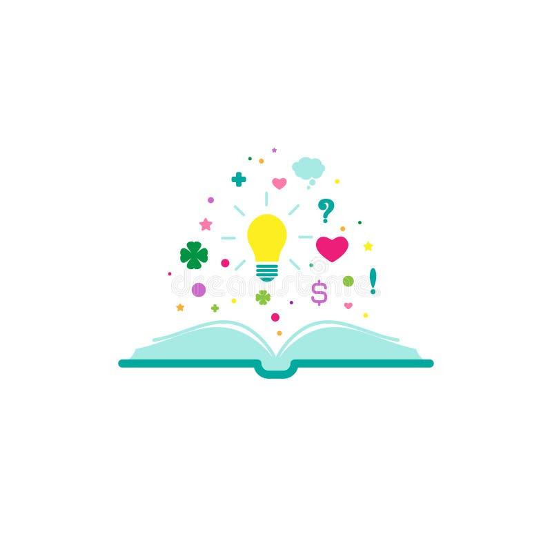 Il libro aperto con la lampadina brillante, cuori, stelle, firma la volata fuori illustrazione di stock