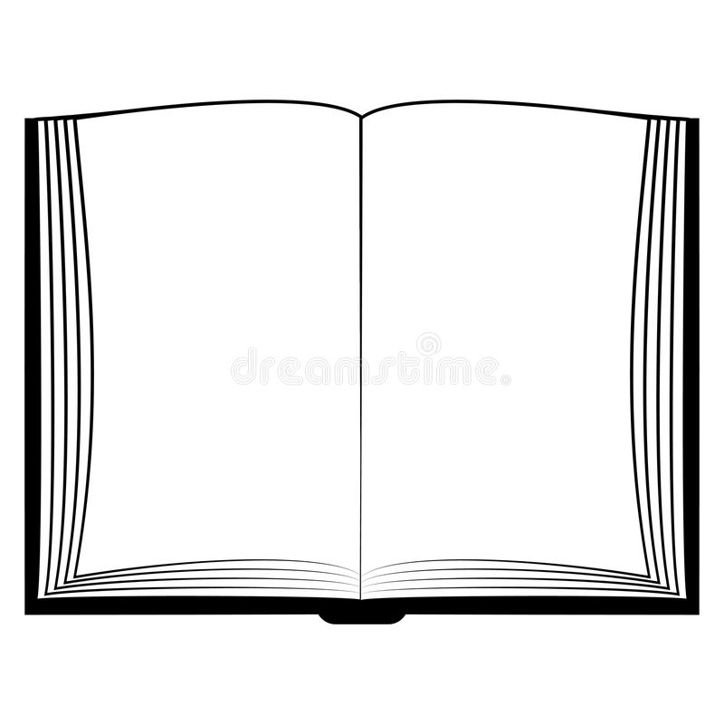 Il libro aperto dell'icona, deride sui white pages del libro, la bibbia di immagine di concetto di vettore, Corano illustrazione di stock