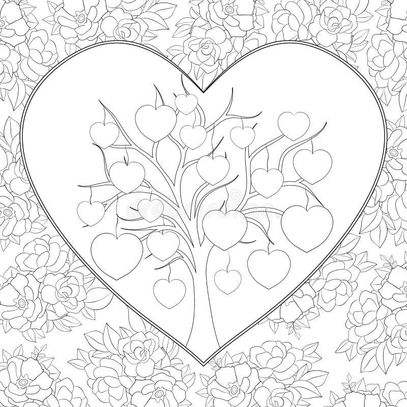 Il libro da colorare adulto, impagina un'immagine di tema del giorno del ` s del biglietto di S. Valentino per rilassarsi royalty illustrazione gratis